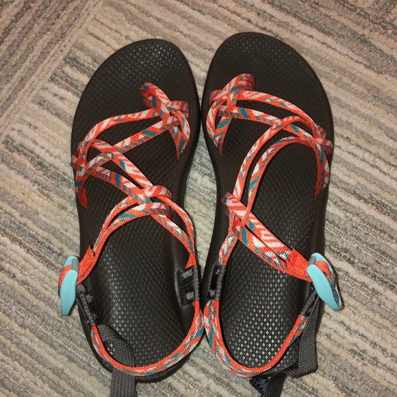 Size 1 Orange And Blue Chaco Sandals